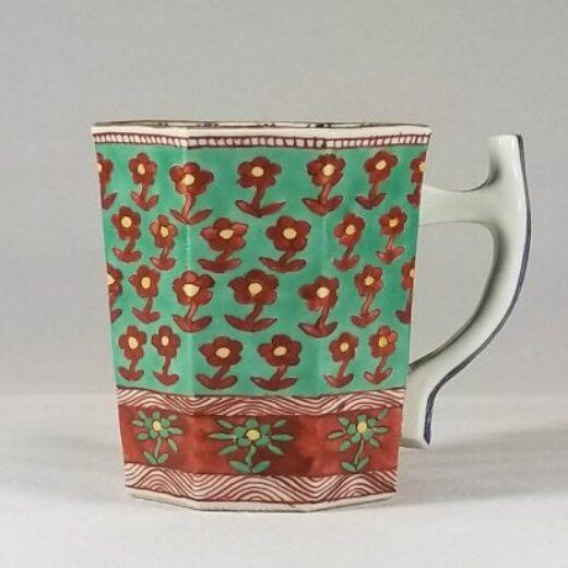青地小花紋 マグカップ
